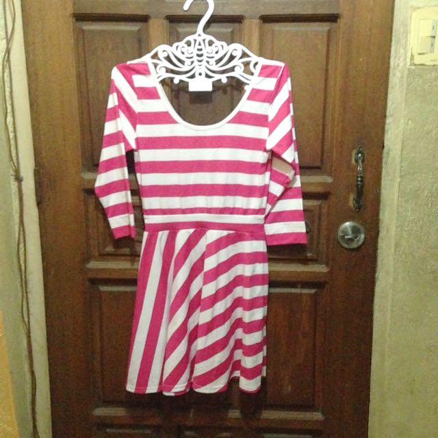 Genevieve gozum white pink stripe dress
