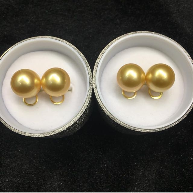 Golden South Sea Pearl Earrings 13mm 14k Gold Setting Women S Fashion Jewelry On Carou