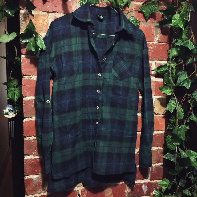 Green checkered flannelette shirt