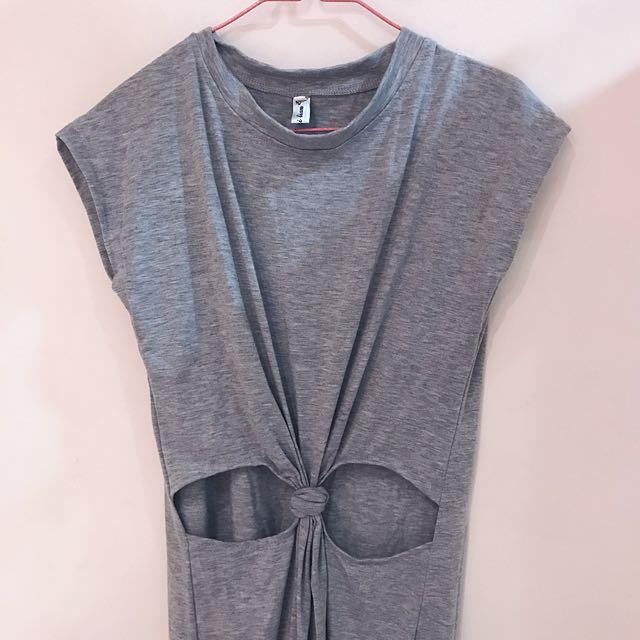 Grey dress with slits