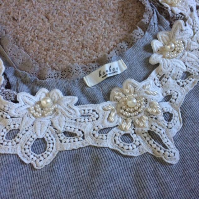 Grey Flower Singlets