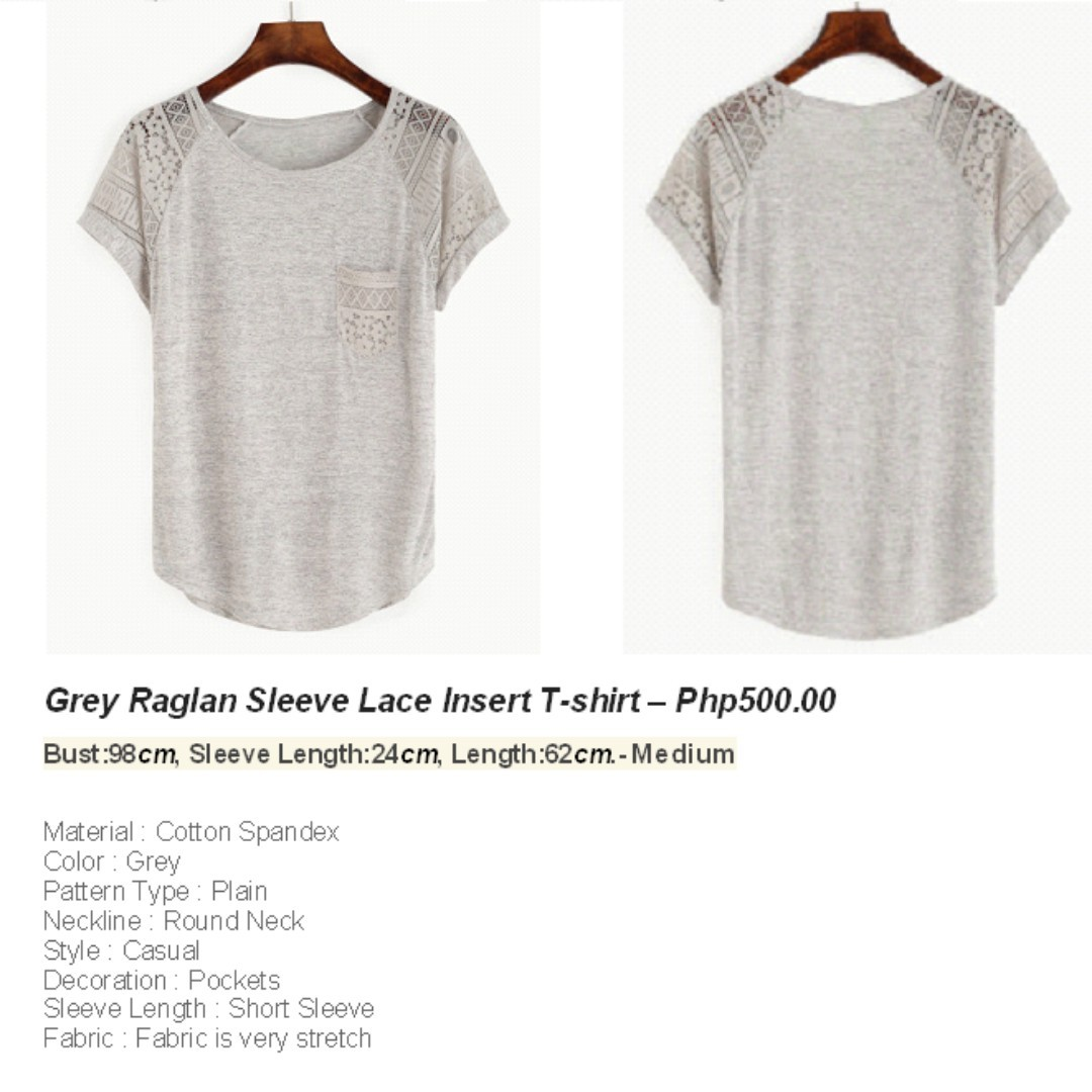 Grey Sleeve Lace T-shirt