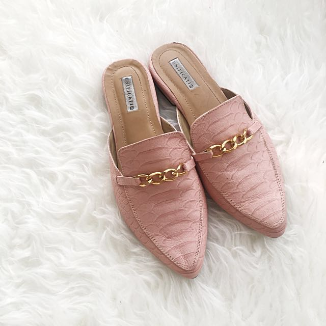 Gucci style slip on croco shoes sepatu sandal pink