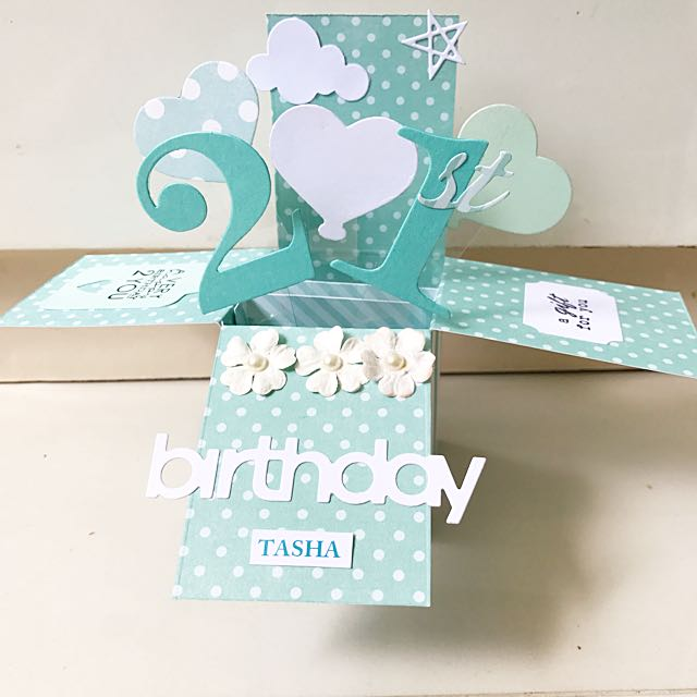 Happy 21st Birthday Handmade Pop Up Card Design Craft