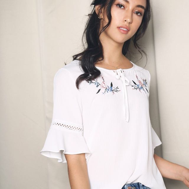 4273f060efd HH Hollyhoque Sasha Crochet Embroidery Blouse Top In White on Carousell
