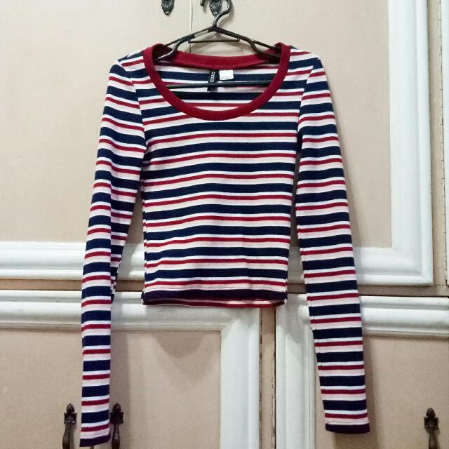 H&M Long-sleeved Striped Top