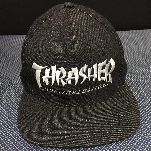 HUF X THRASHER 黑色平沿帽