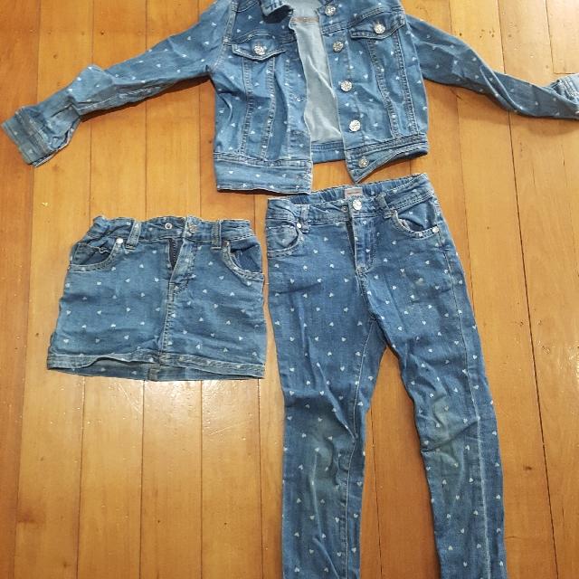 Jeans jacket, pants, skirt set