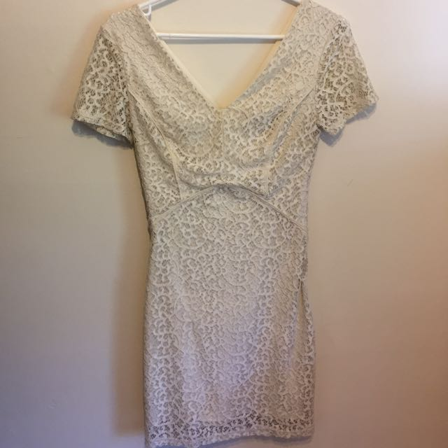 Lacey white mini dress