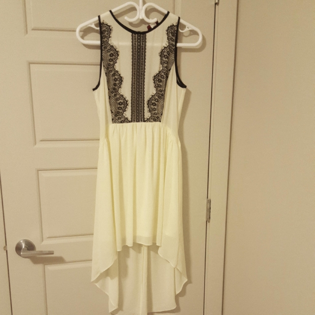 Lady Dutch - Cream lace detailed high low dress