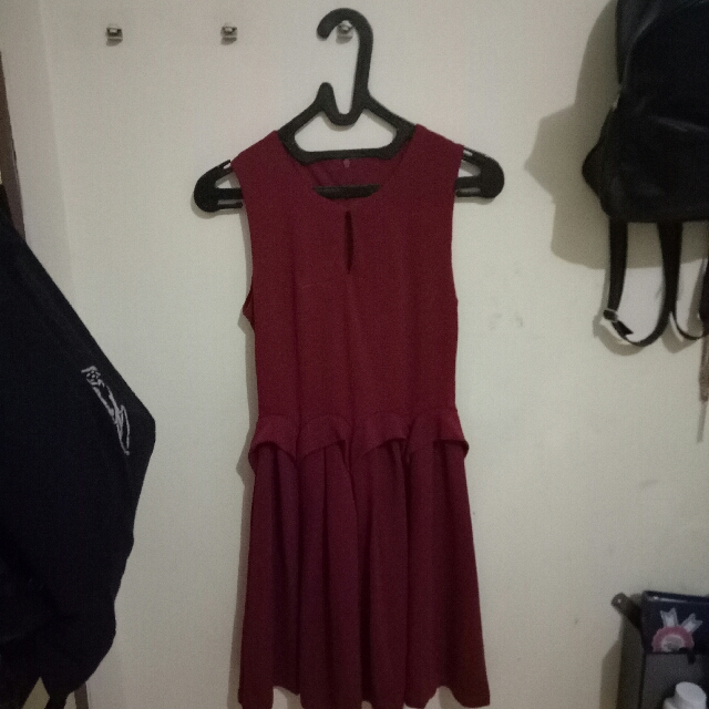 MAROON RED FLARE DRESS