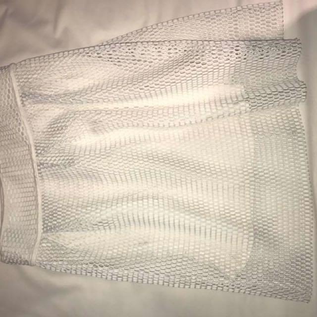 Netted Zip Up Skirt