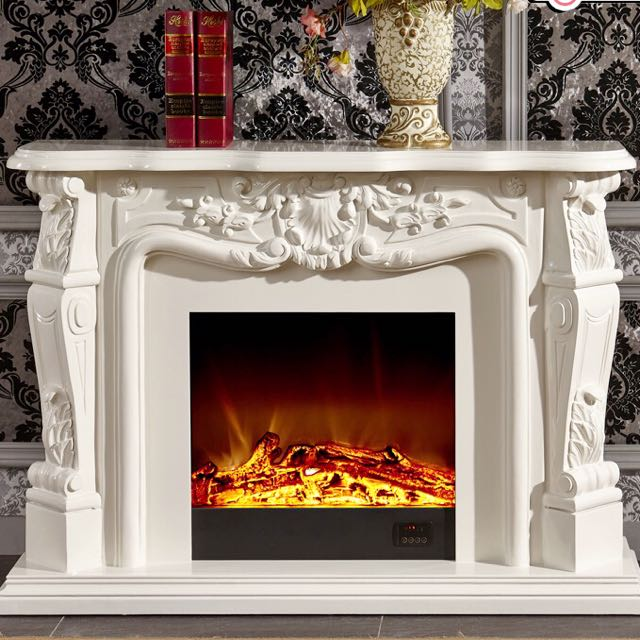 Off White Grand Victorian Style Tv Console Fireplace Furniture