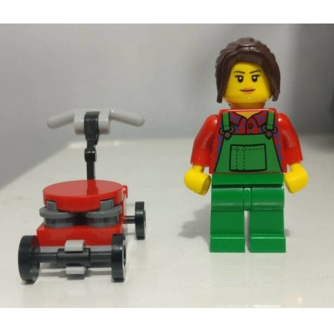 ORIGINAL LEGO Minifigure - City Series - Gardener With Lawn Mower