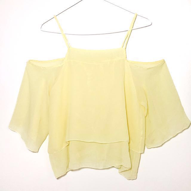 Pastel Yellow Chiffon Cold Shoulder Top