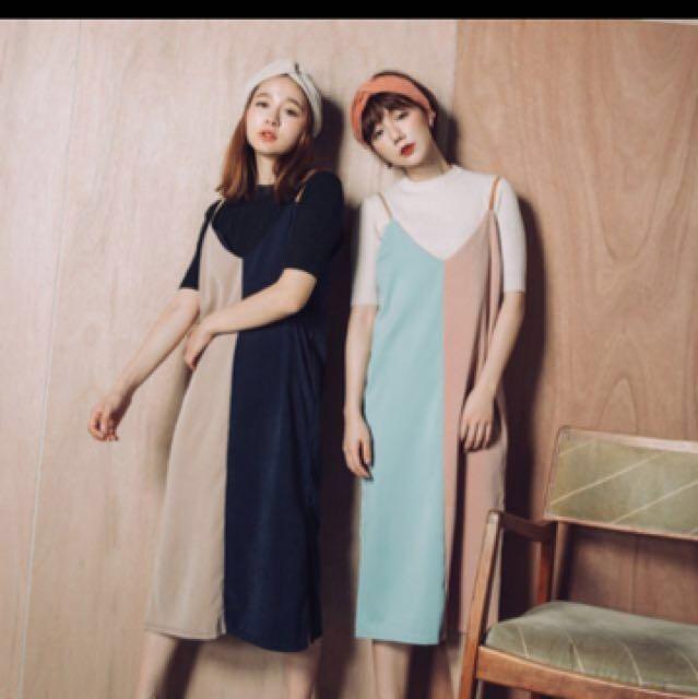 Pimgo撞色外搭麂皮洋裝(左邊顏色)
