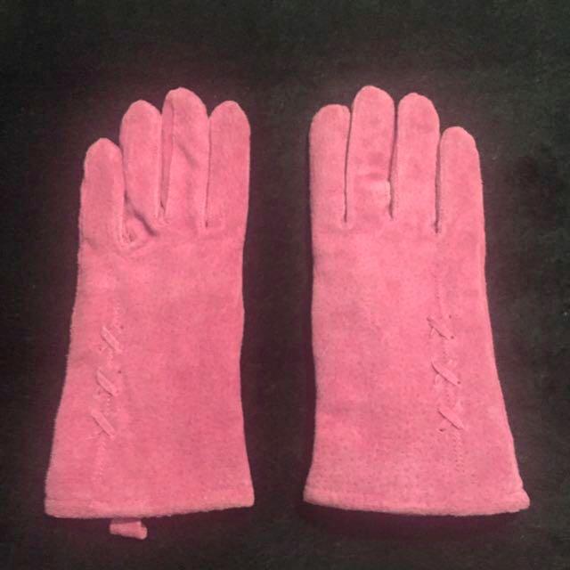 Pink Suede Gloves
