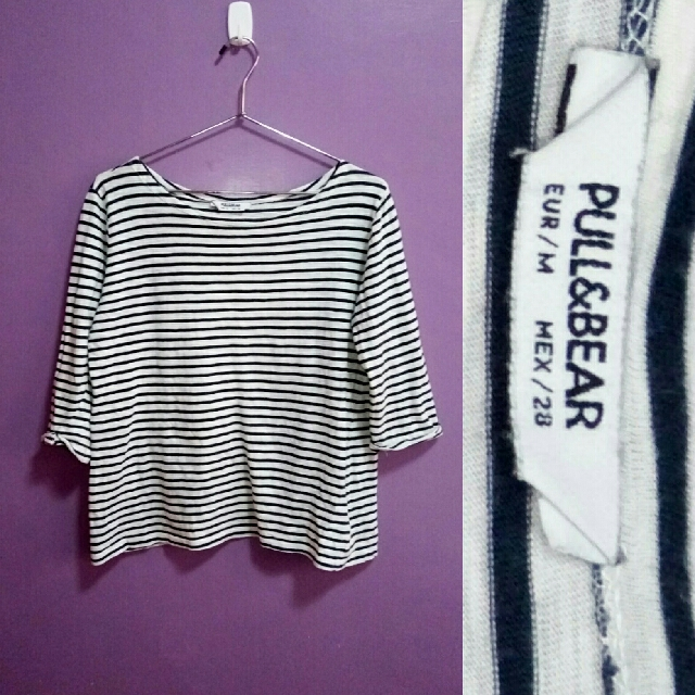 Pull & Bear Striped 3/4 Sleeves Top