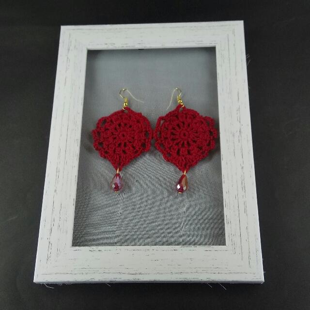 Red Crochet Tear Drop Dangle Earrings