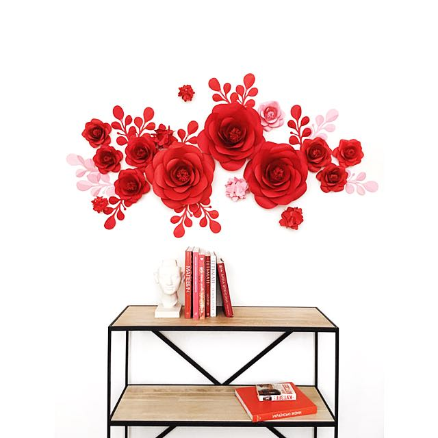 Red paper flower wall design craft art prints on carousell mightylinksfo