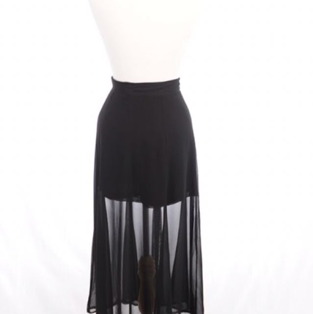 Sandro sheer black skirt