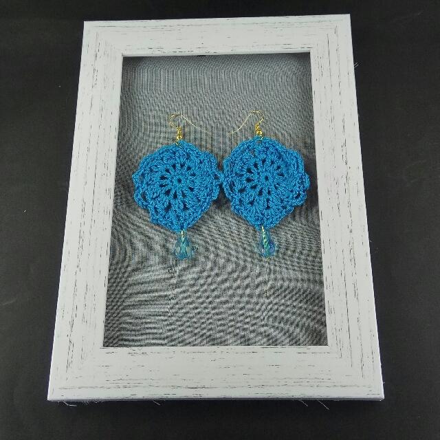 Sky Blue Crochet Tear Drop Dangle Earrings