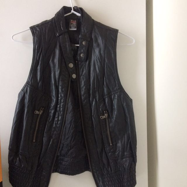 Sleeveless Faux Leather Jacket