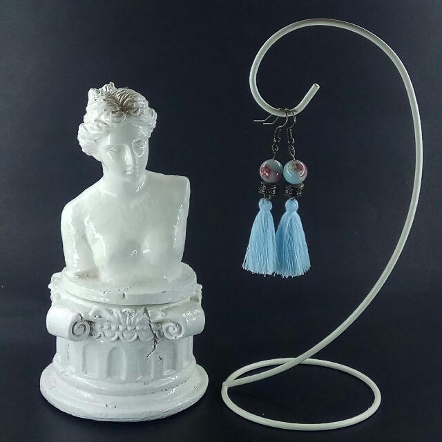 Snakeskin Jasper Oriental Tassel Earrings