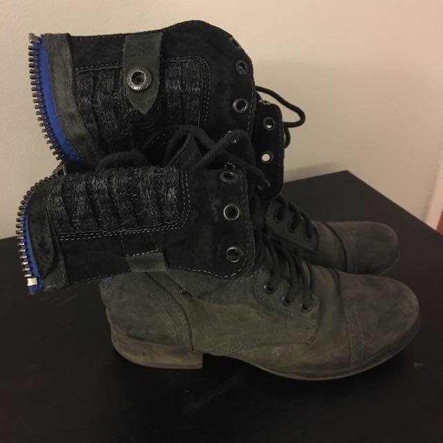 Steve Madden Black Grey Combat Boots