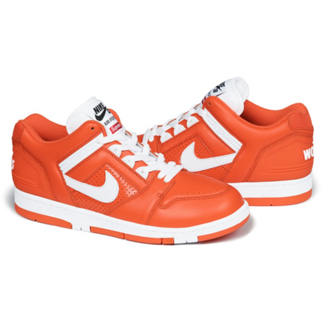 03cd6c269aab0 Supreme x Nike  SB Air Force 2 Orange