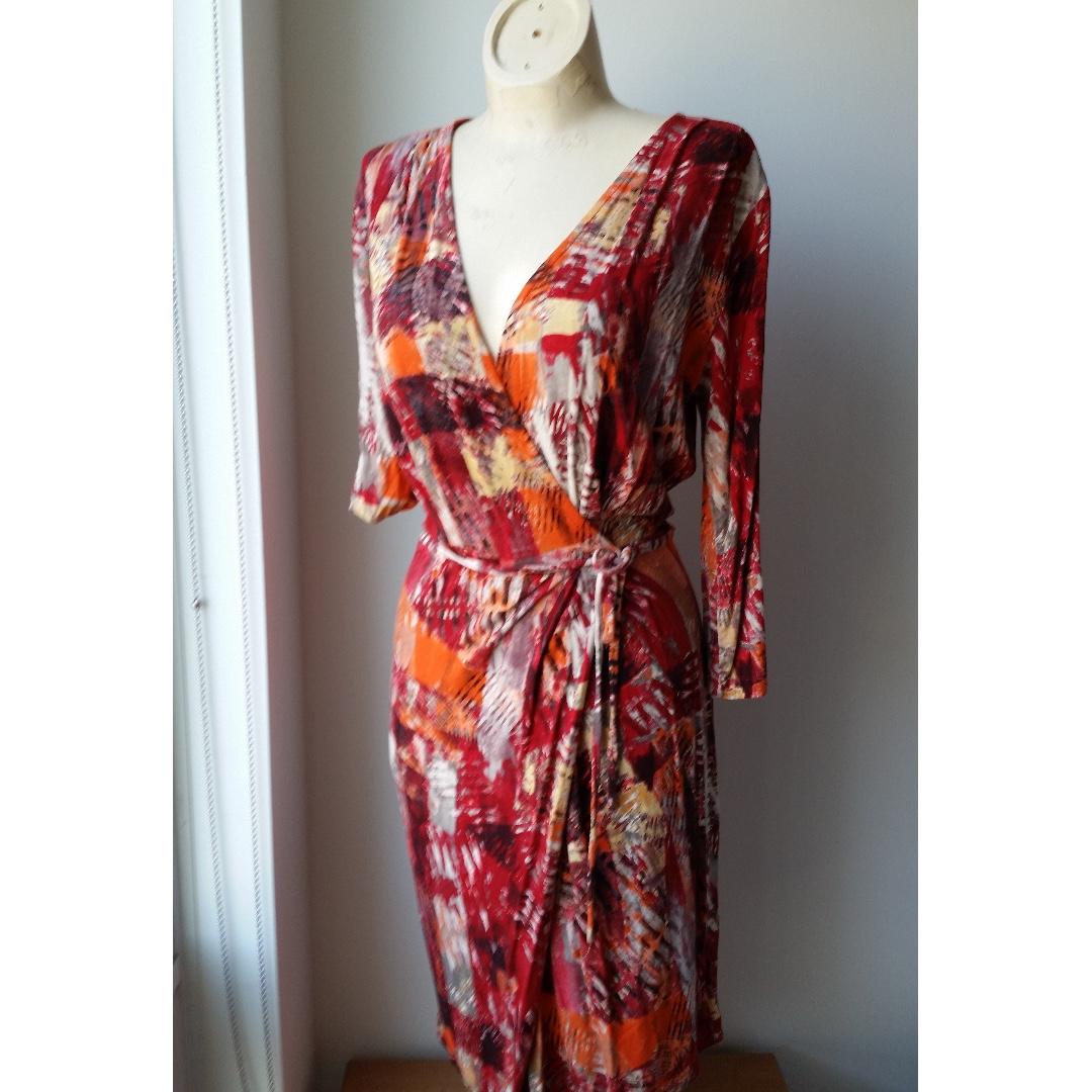 Sz Small Red/Orange print Faux wrap dress