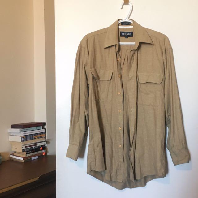 Tan Button Down Dress Shirt