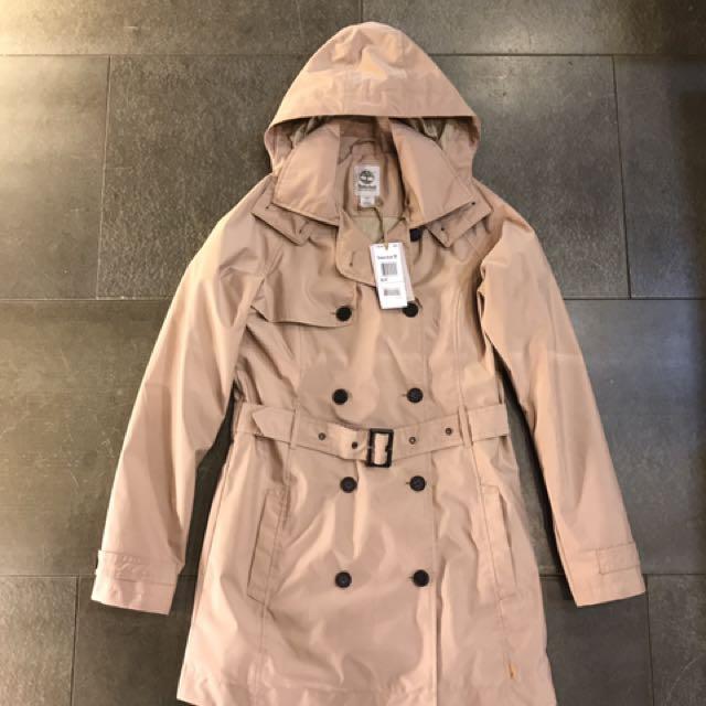 Timberland DRYVENT防水連帽雙排扣大衣 S號