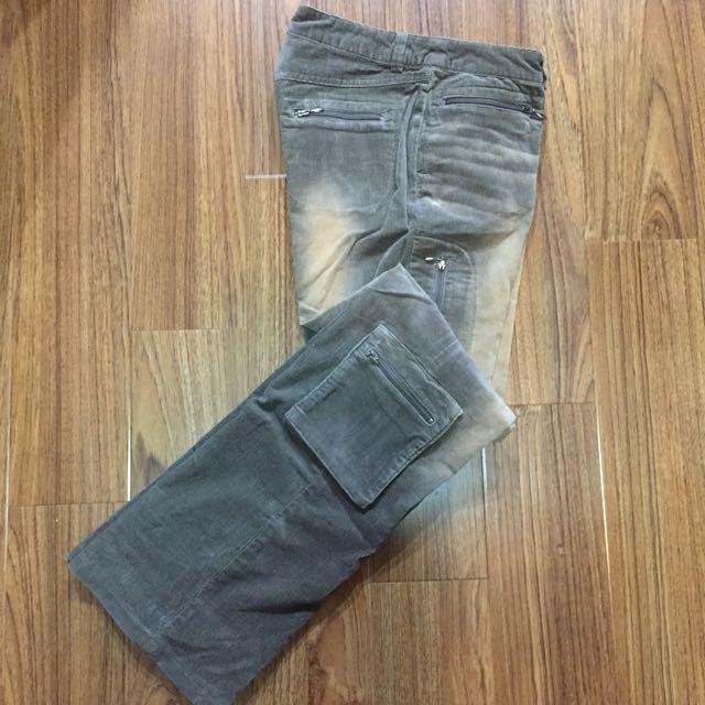 USNS 細條燈芯絨 刷色 仿舊 口袋工作褲