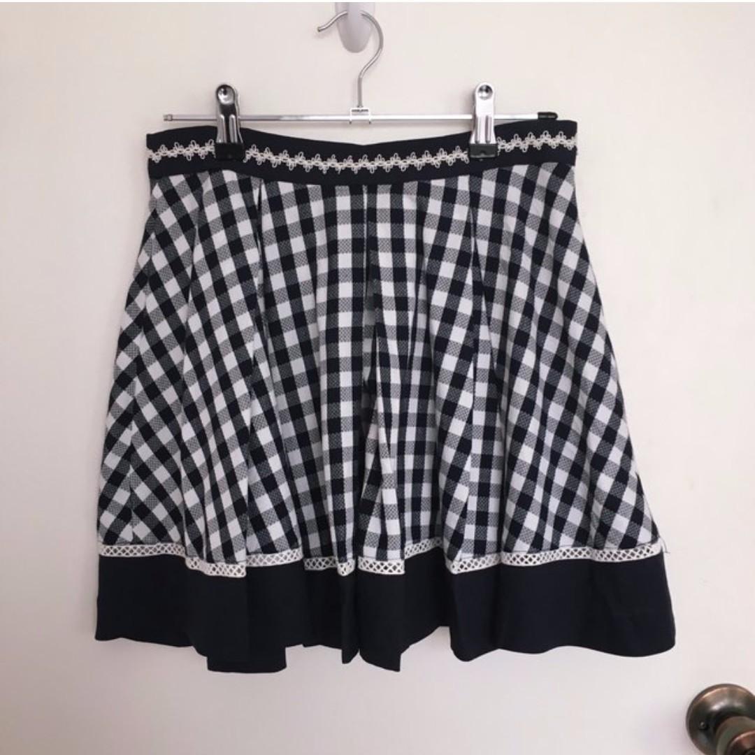 Vintage Check Pattern Skater Skirt