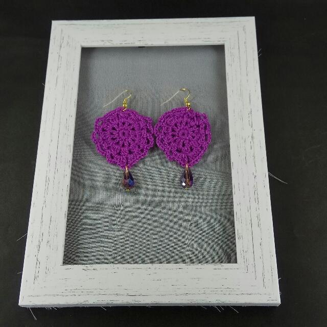Violet Crochet Tear Drop Dangle Earrings