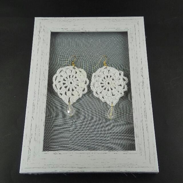 White Crochet Tear Drop Dangle Earrings