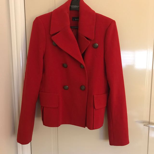 Women's red Bardot coat