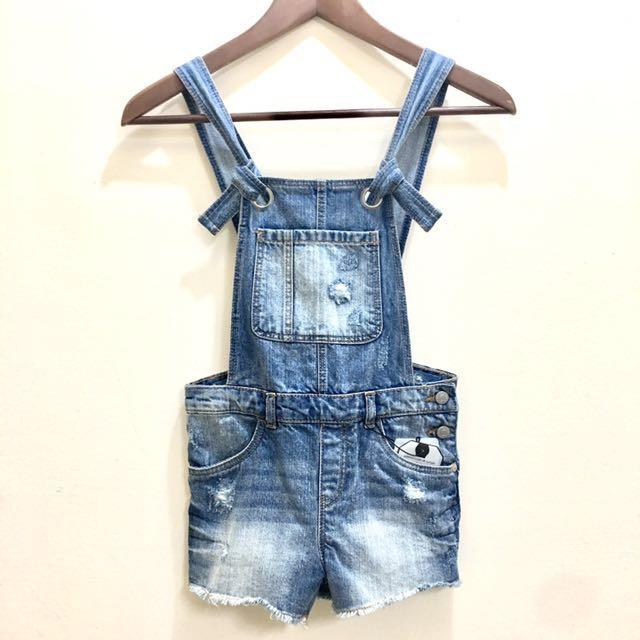 Zara Girls 女童牛仔吊帶褲7year(122cm)