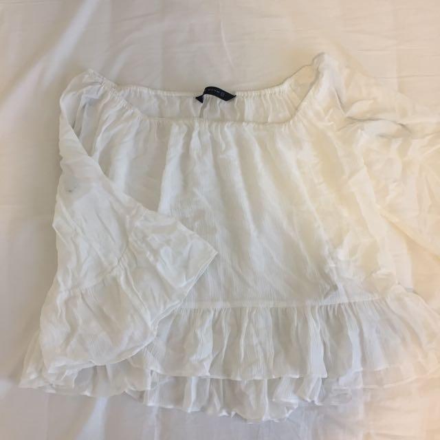 Zara white off the shoulder blouse