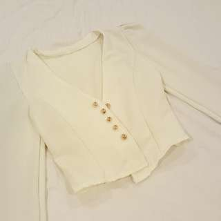 [Price Reduced] Elegant White Blazer with Gold Buttons