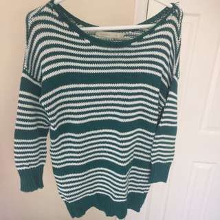 Green n white striped sweater
