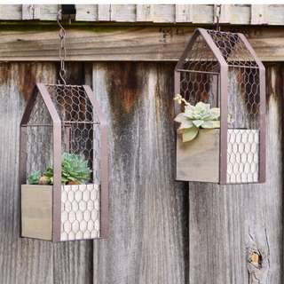 OUT OF STOCK Recycled Industrial Hanging Planter Box with Metal Frame