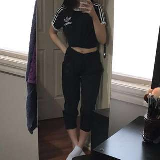 Cuffed loose/silky black pants