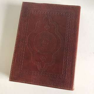 Leather embossed blank notebook