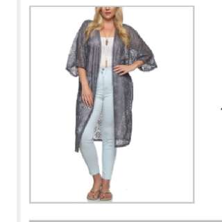 cardigan new silver long size 1x