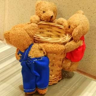 Cute Lovable Three Teddybears Basket Gift