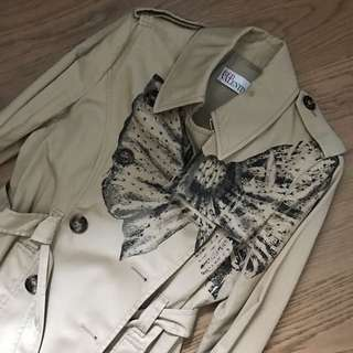 RED VALENTINO Lace Bow Print Trench Coat 乾濕褸