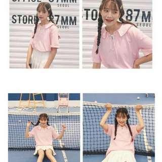 少女海軍風 粉紅色蝴蝶結上衣