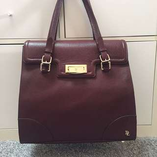 David Lawrence Maroon Leather Handbag